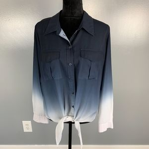 I.N.C, tie front blue & white top, size 12